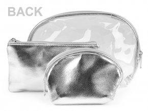 Kosmetická taška průhledná s glitry a AB efekterm, sada 3 ks