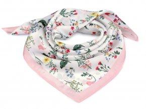 Saténový šátek luční květy 50x50 cm
