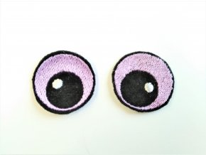 Vyšívané oči oválné 2,5 cm fialové