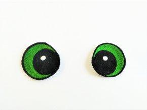 Vyšívané oči vypouklé 3 cm zelené
