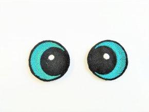 Vyšívané oči vypouklé 3 cm tyrkysové