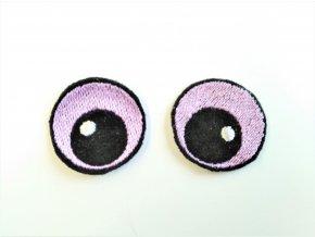Vyšívané oči oválné 3 cm světle fialové