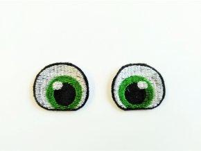 Vyšívané oči tvarované 3 cm zelené