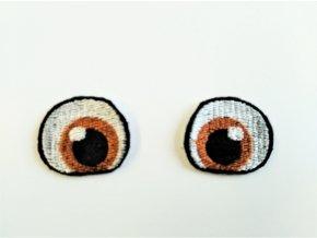 Vyšívané oči tvarované 3 cm hnědé
