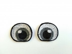 Vyšívané oči tvarované 3 cm šedé