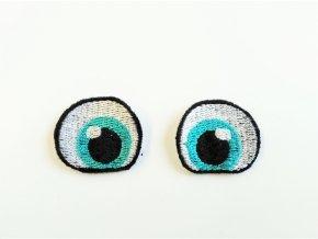 Vyšívané oči tvarované 3 cm tyrkysová