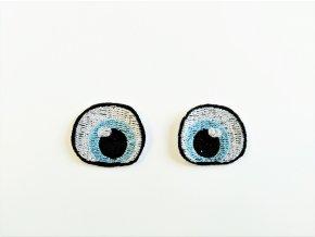 Vyšívané oči tvarované 2 cm světle modré #1