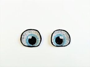 Vyšívané oči tvarované 2 cm světle modré