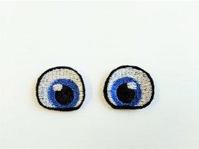 Vyšívané oči tvarované 2 cm modré