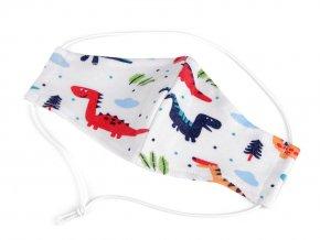 Dětská rouška z úpletu zvířátka, dinosaurus, letadlo 3-6 let