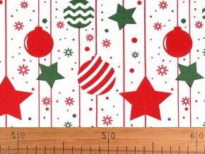 Vánoční bavlněná látka baňky a hvězdy
