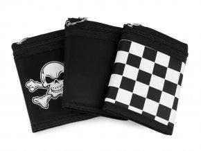 Pánská látková peněženka s řetízkem, lebka, pavučina, kostky