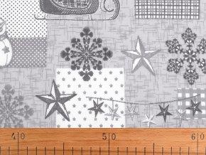 Vánoční bavlněná látka vločky a sněhulák