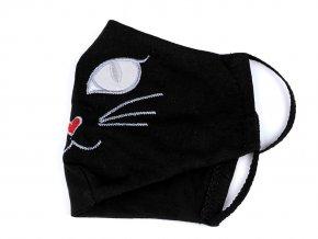 Rouška s pruženkou za uši kočka - 2vrstvá