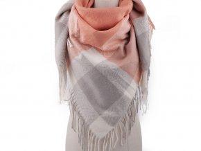 Teplý šátek karo s třásněmi 100x105 cm