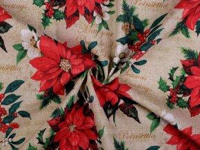 Dekorační látka Loneta vánoční hvězda