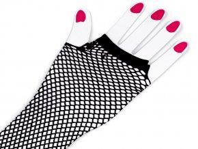 Dlouhé společenské rukavice síťované, bezprsté