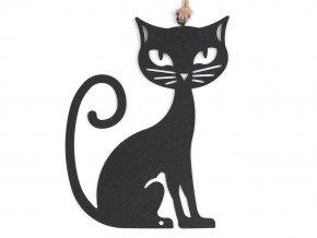 Černá kovová kočka k zavěšení