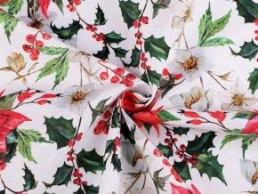 Vánoční dekorační látka Loneta sada s nití - vánoční hvězda