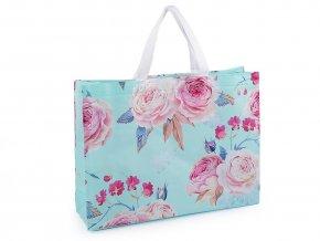 Nákupní taška s květy růže, velká 32x42 cm omyvatelná