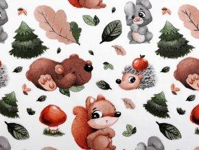 Bavlněná látka lesní zvířátka