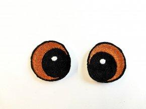 Vyšívané oči vypouklé 3 cm hnědé