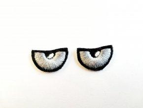 Vyšívané oči na sovu šedé