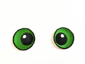 Vyšívané oči oválné 3 cm zelené