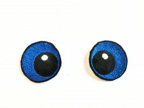 Vyšívané oči oválné 3 cm modrá
