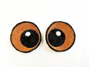Vyšívané oči kulaté 3 cm hnědé