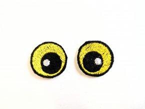 Vyšívané oči kulaté 2 cm žluté