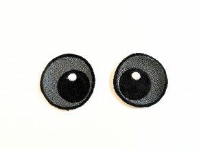 Vyšívané oči kulaté 2 cm šedé