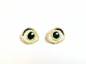 Vyšívané oči na panenku 1,5 cm světle zelené