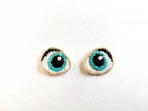 Vyšívané oči na panenku 1,5 cm tyrkysové