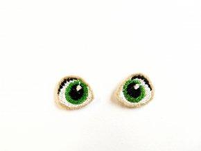 Vyšívané oči na panenku 1,5 cm zelené
