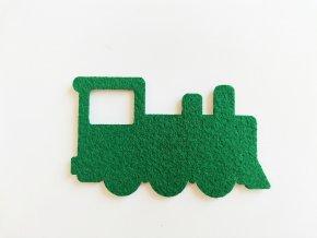 Výsek z filcu mašinka zelená