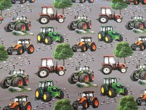 Teplákovina Traktory na šedé