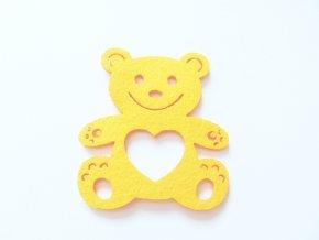 Výsek z filcu medvídek žlutý