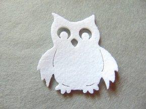 Výsek z filcu sova bílá