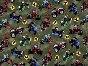 Teplákovina bavlněná nepočesaná s digitálním tiskem traktor