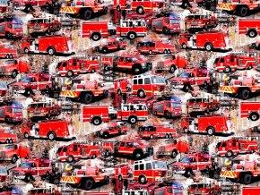 Teplákovina bavlněná nepočesaná s digitálním tiskem hasiči