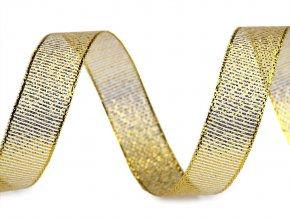 Brokátová stuha s lurexem šíře 15 mm vánoční