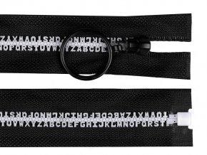 Kostěný zip šíře 5 mm délka 70 cm písmenka