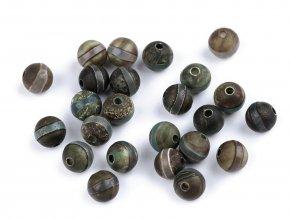 Minerálové korálky Tibetský achát pruhovaný Ø8 mm