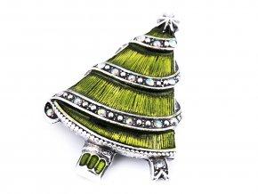 Brož s broušenými kamínky vánoční stromeček