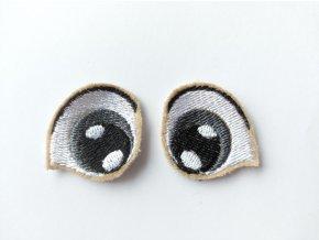 Vyšívané oči tvarované 2 cm šedé #3