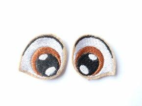 Vyšívané oči tvarované 2 cm hnědé #3