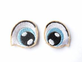 Vyšívané oči tvarované 2 cm světle modré #3