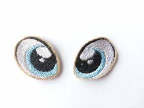 Vyšívané oči tvarované 2 cm světle modré #4