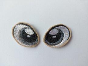 Vyšívané oči tvarované 2 cm šedé #4